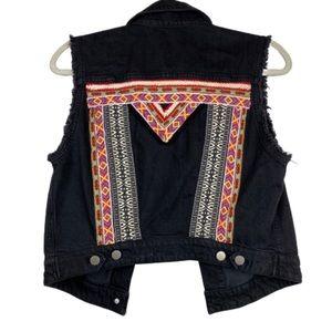 H&M Coachella Embroidered Black Denim Vest Size 10